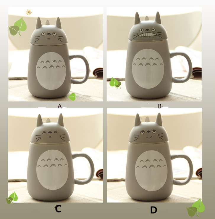 Harajuku Cute Totoro Ceramic Cup With Lid Spoon Large Coffee Mug On Luulla