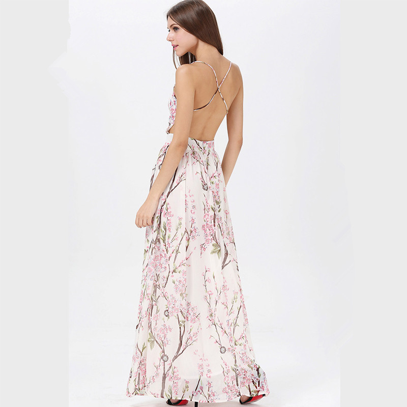 White Floral Print Plunge V Spaghetti Straps Maxi Dress Featuring ...